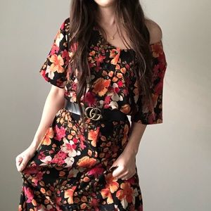 Vintage Floral Button Up Maxi Dress Ties Fitted H